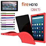 """EpicGadget Amazon Fire HD 10"""" Case (2017), Anti slip Soft Silicon Rubber Gel cover Case For 7th Gen Fire HD 10 + 1 Amazon HD 10 Screen Protector and 1 Stylus (Red)"""
