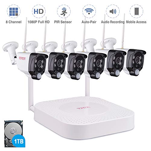 【Audio Recording】 Tonton 1080P Full HD Security Camera System Wireless,8CH NVR Kit with 1TB HDD and 6PCS 2.0 MP Outdoor Indoor Bullet IP Cameras with PIR Sensor,Auto-Pair,Plug and Play,Super Vision