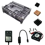XINYUWIN Case for Raspberry Pi 3 with Fan Cooling and Heatsinks, 5V 2.5A/3A Power Supply Adapter Micro USB with On/Off Switch, Case for Pi 3B 2 Model B (Not Include Raspberry Pi Board)