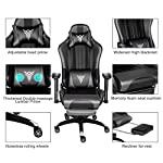 PULUOMIS Massage Gaming Chair, Grey Swirl Computer Chair with Footrest, Lumbar Support & Headrest, Adjustable Ergonomic…