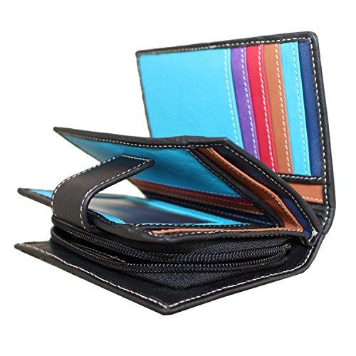 Ladies Luxury High Quality Soft Black (Multi Coloured Inside) Real Nappa...