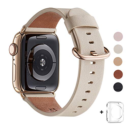 WFEAGL Compatible iWatch Band 38mm 40mm, Top Grain Leather Band with Gold Adapter (the Same as Series 4 with Gold Stainless Steel Case in Color) for iWatch Series4/3/2/1(Ivory White Band+Gold Adapter)