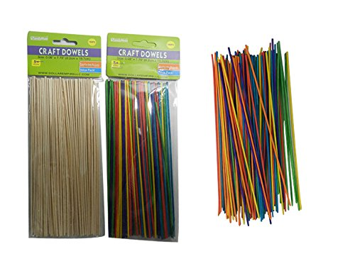 100PC CRAFT DOWELS Size:0.06X7.75'', Wood + Colors , Case of 144