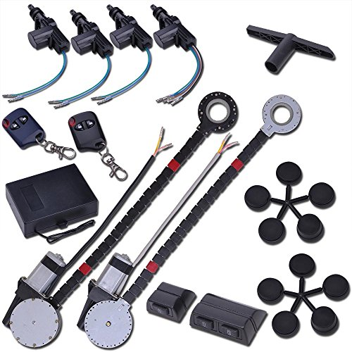 Electric Motor Conversion - Yescom Electric 2 Power Motor Window Roll Up + 4 Door Lock Conversion Kit for Car Truck