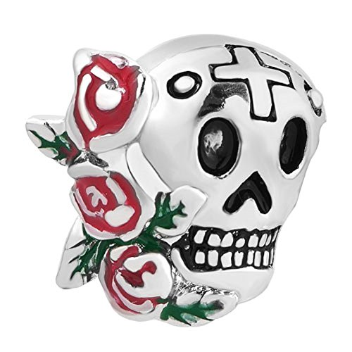 Cory Keyes Rose Flower Enamel Cross Sugar Skull Charm Bead For Bracelet