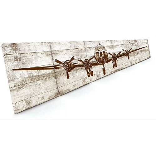 YOSEE Framed Vintage Airplane Canvas Wall Art Decor Picture Giant Size Printed Cargo Airplane Artwork 5 Panel 20x100'' ( Wood Framed 5-20x20 Inches) by NEW DECO