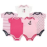 Luvable Friends Cotton Bodysuit, 5 Pack, Girl Nautical, 6-9 Months