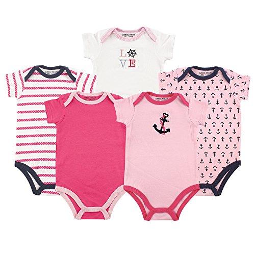 Luvable Friends Cotton Bodysuits, 5 Pack, Girl Nautical, 12-18 Months -