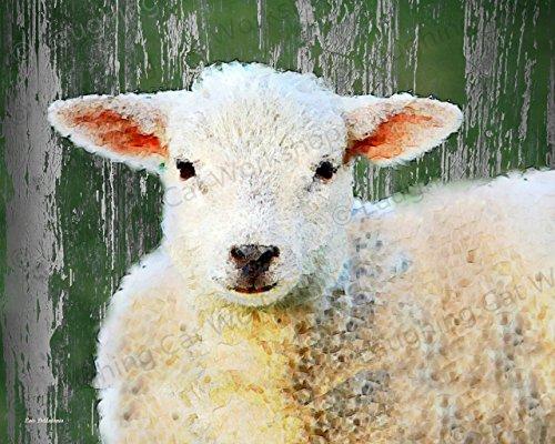 Sheep Art, Lamb Art, Graphic Art Print, Country Rustic Wall Art, Barn Farm art print, Folk Farm Animal Vintage Wall Art, Cottage Kitchen decor