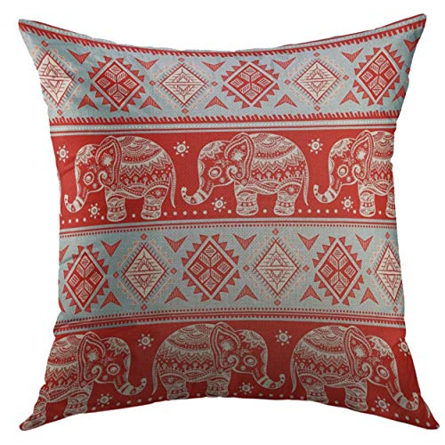 Mugod Throw Pillow Cover Arabesque Boho Vintage Graphic Indian Lotus Ethnic Elephant African Tribal Coloring Book Prints Animal Home Decor Pillow case 18x18 Inch