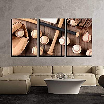 3 Piece Canvas Wall Art - Baseball Equipment on a Rustic Wood Surface - Modern Home Art Stretched and Framed Ready to Hang - 16
