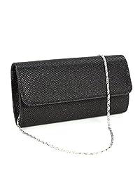 U-Story Womens Evening Wedding Party Small Clutch Bag Prom Shoulder Chain Handbag Tote (Black)