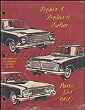 1962-1966 Ford Zephyr and Zodiac Parts Manual Original