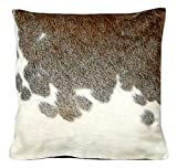Artistic Pillows Genuine Cowhide Pillow Covers Grey White 15x15 Set of 2 Pillow Cases Cushion Covers