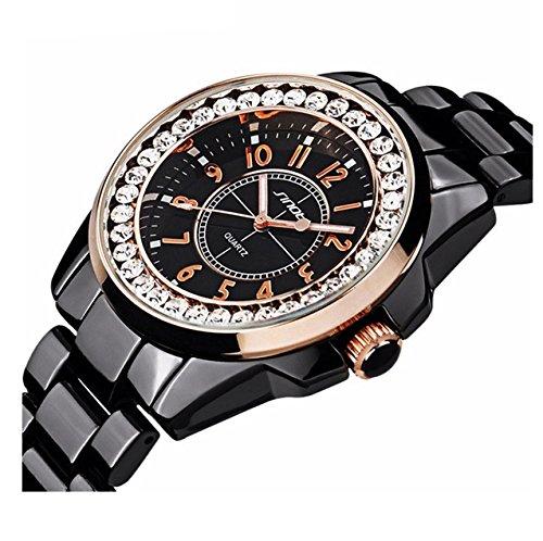Fashion Waterproof Sports Diamonds Women Men Dress Alloy Strap Girls Quartz Imitation Ceramics Watch (Black Gold)