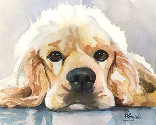 Cocker Spaniel Dog Fine Art Print on 100% Cotton Watercolor Paper