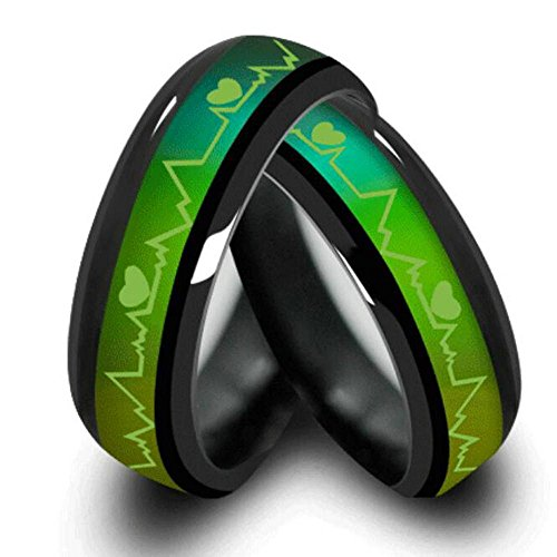 Titanium Steel Mood Rings For Lovers Emotional Change Color Temperature Feeling Heartbeat ECG Rings