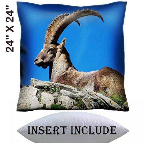 24x24 Throw Pillow Cover with Insert - Satin Polyester Pillow Case Decorative Euro Sham Cushion for Couch Bedroom Handmade Majestic alpine ibex Image 36312883 Customized Tablemats Stain Resistance -