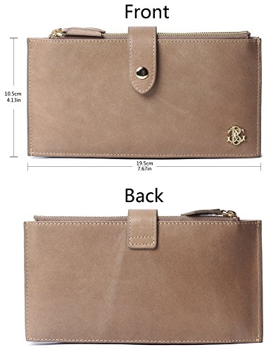 With Zipper Wax Wallet Apricot Rfid Leather Card Holder Blocking Purse Borgasets Credit Women's Genuine zn0S07BW