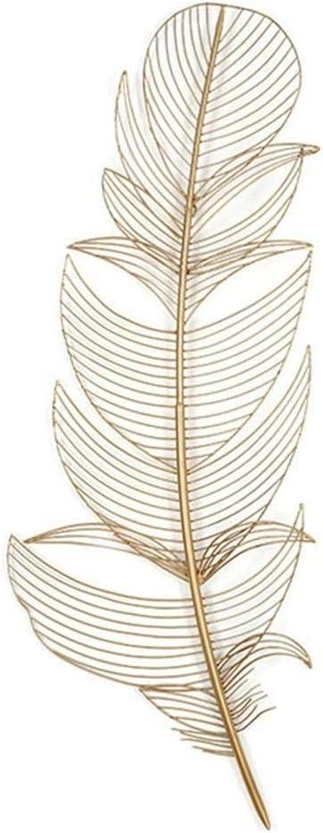 QINQIWDH 金属の壁の芸術、家の装飾のための金空の羽壁の装飾、屋内および屋外の庭の壁掛け-掛ける準備ができて (Size : 89x33x4cm)
