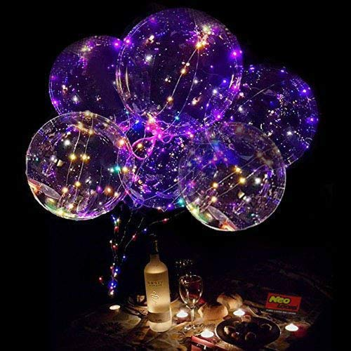 Neo LOONS 18 Inch LED Light Up Balloons LED Bobo Balloons Helium Balloons for Birthday,Wedding,Christmas Party Decorations,6 Pcs by Neo LOONS