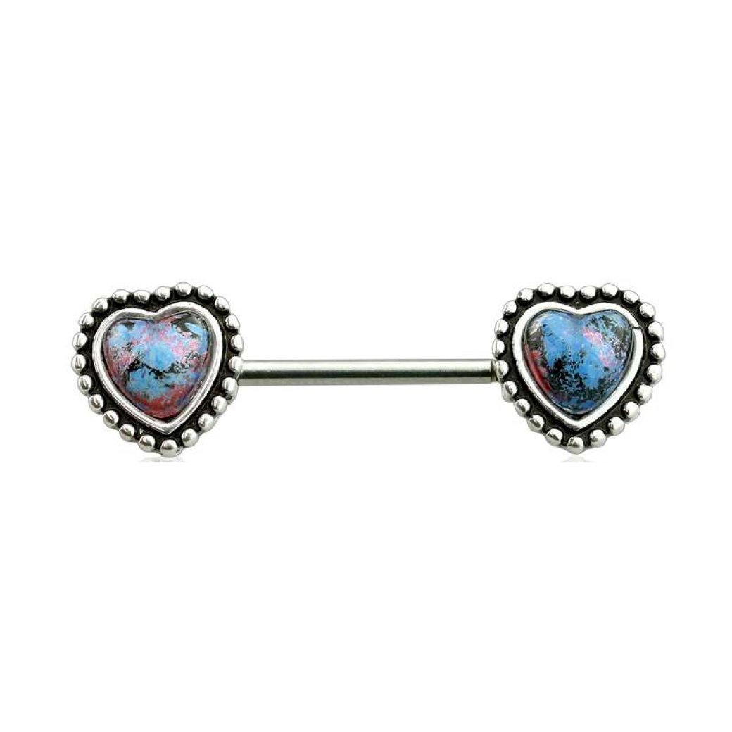 Sold Per Pair or Per Piece Dynamique 316L Surgical Steel Synthetic Opal Antique Heart Nipple Bar