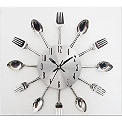 Stainless Steel Knife and Fork Clock/modern Design Sliver Cutlery Kitchen Utensil Wall Clock Spoon Fork Clock