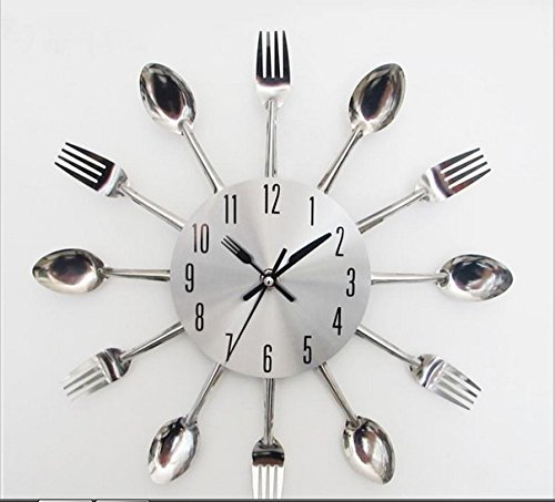 Uniquebella Metal Kitchen Cutlery Utensil Wall Clock Spoon: Stainless Steel Knife And Fork Clock/modern Design Sliver
