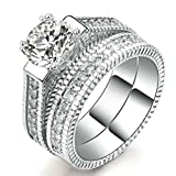 Womens Wedding Engagement Bands Ring Sets 18K White Gold Plated Princess Cut Eternity Solitaire CZ Crystal Best Anniversary Promise Rings Size 8