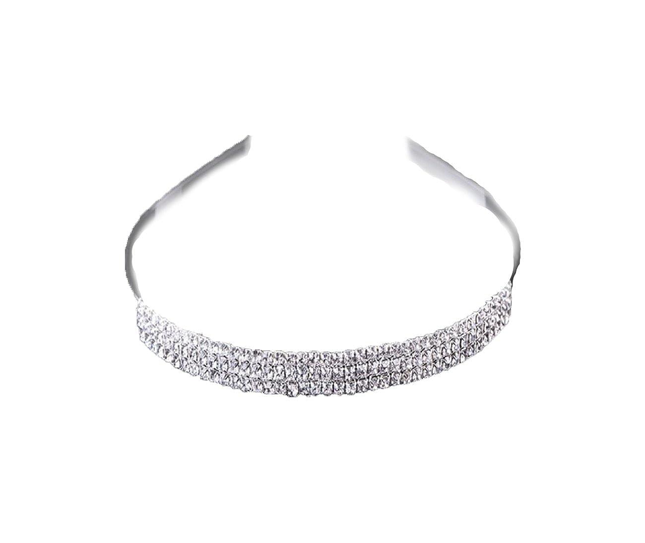 Diadème Tiara argent bijoux cheveux diadème Couronne de Strass Mariée Mariage Pneu Noname Diadem