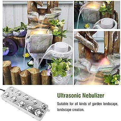 Máquina de niebla ultrasónica industrial, aerosol de niebla, difusor ultrasónico, máquina de niebla para jardín/césped/estanque/fuente de agua con transformador (10 cabezales, DC36 – 48 V): Amazon.es: Bricolaje y herramientas
