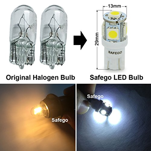 T10 194 Led Car Bulb Safego T10 Led White W5w 5 Smd 5050