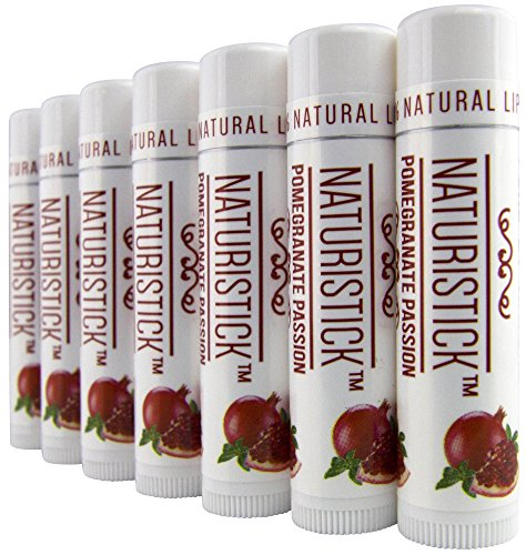 Pomegranate Lip Balm Gift Set (7 Pack) by Naturistick. Best All Natural Beeswax Healing Chapstick for Dry, Chapped Lips. With Aloe Vera, Vitamin E, Coconut Oil. For Men, Women and Kids. Made in USA.