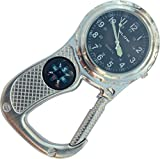 Belt Fob Watch with compass - Antique Silver