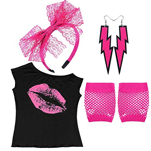 Womens 80's Pink Lips Print Off Shoulder T-Shirt Lace Headband Neon Earrings Fingerless Fishnet Gloves for 80's Party, HP-M ()