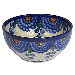 Traditional Polish Pottery, Handcrafted Ceramic Salad or Cereal Bowl 800 ml (d.16cm), Boleslawiec Style Pattern, M.702.Arts