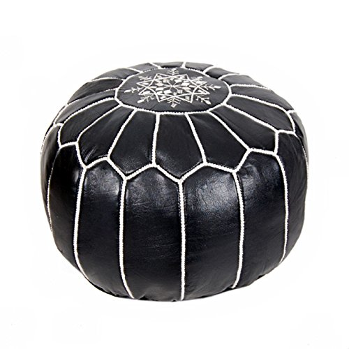 Cheap  Moroccan Leather Pouf Ottoman Footstool (Leather) Genuine Hand-Stitched Seating   Unstuffed  ..