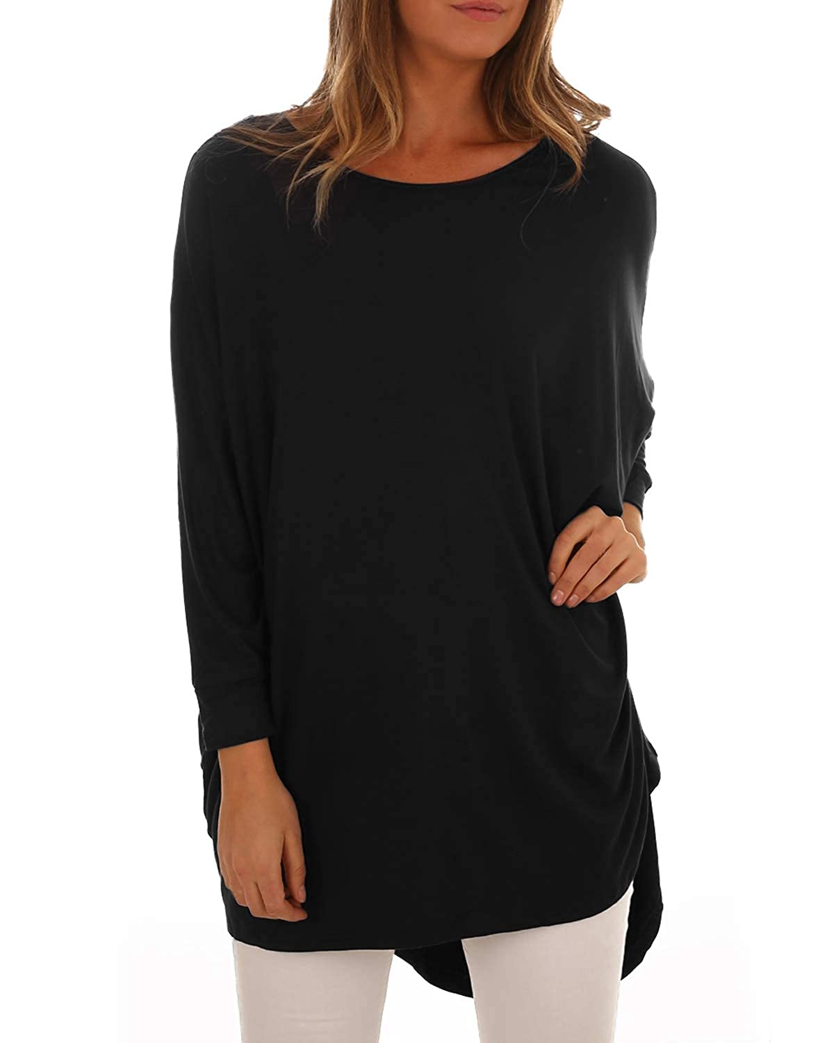 ACHIOOWA Women Tops Jumper Oversized Batwing Sleeve Laides Tops Cowl Neck Pullover Knitted Baggy T-Shirt Sweatshirt