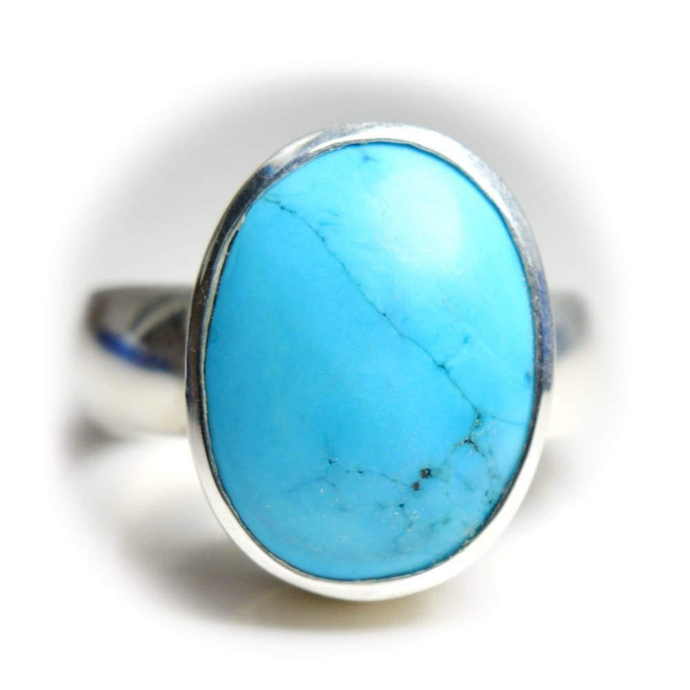 55Carat Natural Line Turquoise Silver Ring For Women 6 Carat Oval Astrological Size 5,6,7,8,9,10,11,12,13 55LITURSIM6