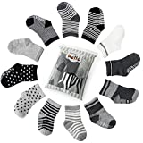 6 pair Non Skid Anti Slip Slipper Cotton Crew Socks With Grips For Baby Toddler Boys, Future Founder (Black-grey-white)