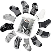 Future Founder 6 pair Non Skid Anti Slip Slipper Cotton Crew Socks With Grips For Baby Toddler Boys, (Black-grey-white)