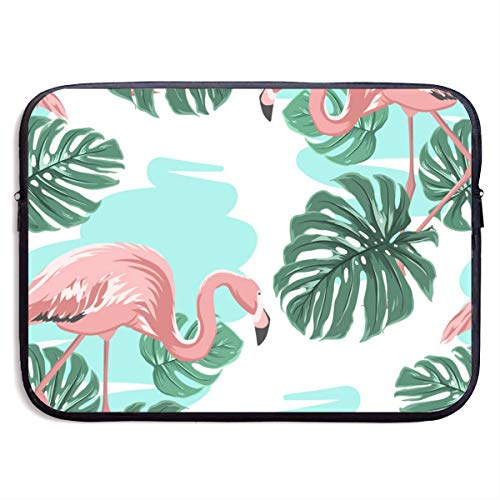Lake Blue Laptop Sleeve - Funny Briefcase Pink Flamingos Blue Lake Monstera Leaves Laptop Sleeve Waterproof Neoprene Diving Fabric Protective Briefcase Laptop Bag for IPad, Notebook/Ultrabook/Acer/Asus/Dell