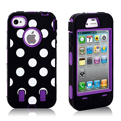 Polka Dot & Hot Purple Defender Body Armor High Impact Extreme Duty Hybrid Case Cover for iPhone 4/4S with Built-in Screen Protector