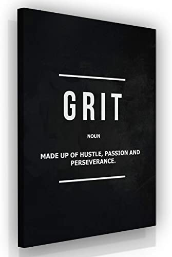 "Grit Noun Office Decor Wall Art Motivational Canvas Print Entrepreneur Definition Inspirational Wall Art Hustle Passion Quote Inspiration Modern Framed Artwork Sign Decoration 36"" x 24"""