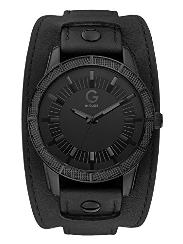 G by GUESS Men's Black Leather Cuff Watch