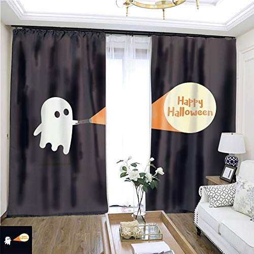 Curtain Gauze Cute Ghost Character just Found The Happy Halloween Message with his Flashlight W72 x L76 Block The Sun Highprecision Curtains for bedrooms Living Rooms Kitchens etc. ()
