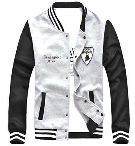 Abetteric Men Contrast Sportstyle Long Sleeve Embroidered Jersey Jacket Light Grey XS