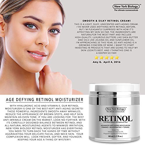 51EhKWlUuBL - New York Biology Retinol Cream Moisturizer for Face and Eye Area - Anti Aging Infused with Vitamin A and E for Fine Lines and Wrinkles - 1.7 oz