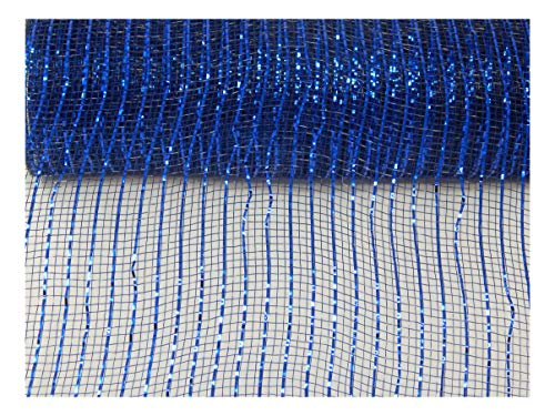 Floral Supply Online - 10 inch x 30 feet Metallic Deco Poly Mesh Ribbon (Navy/Royal, -