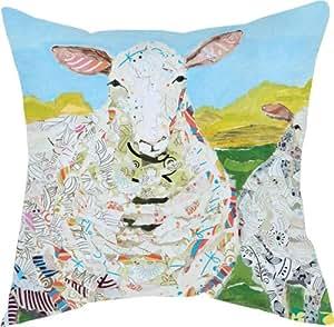 Pair of Farm Art Sheep Print Indoor/Outdoor Decorative Throw Pillows